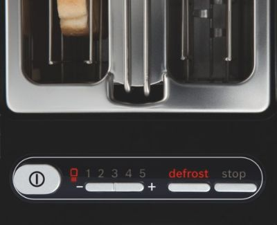 The Bosch styline toaster showing Adjustable Browning control, defrost and cancel button